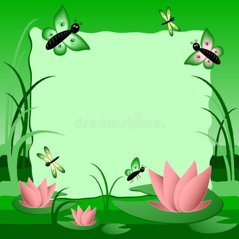 De illustratie van kinderen met etiket voor tekst Moeras met lotusbloem Groene Kleur stock illustratie