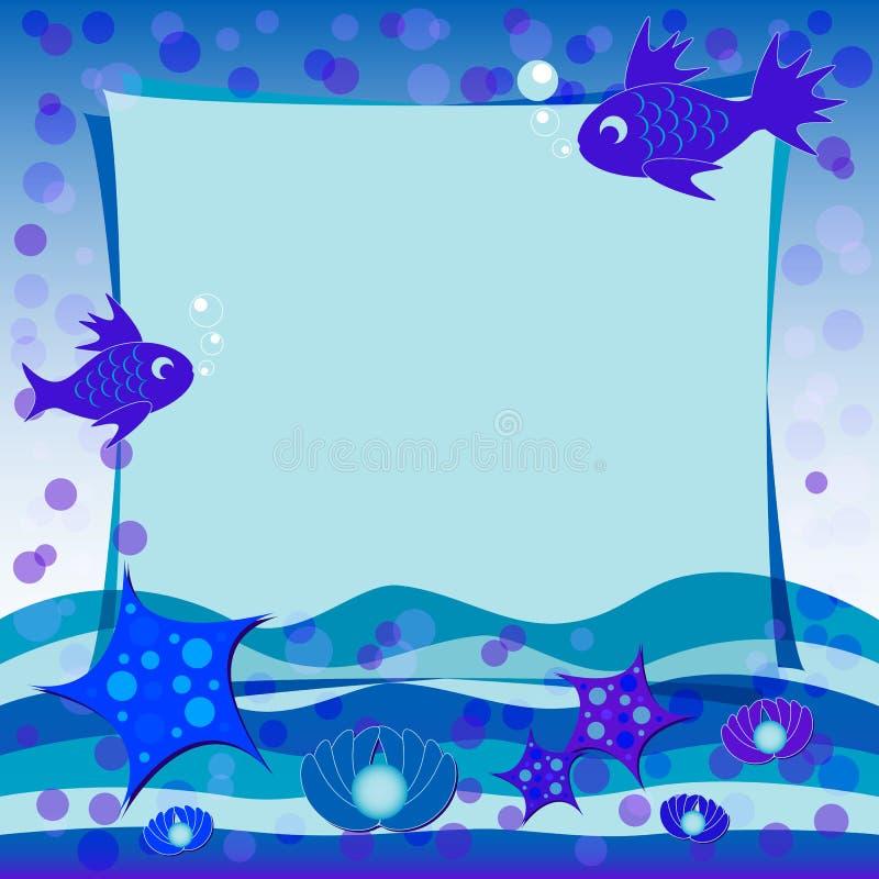 De illustratie van kinderen met etiket voor tekst Onder het overzees Blauwe kleur stock illustratie
