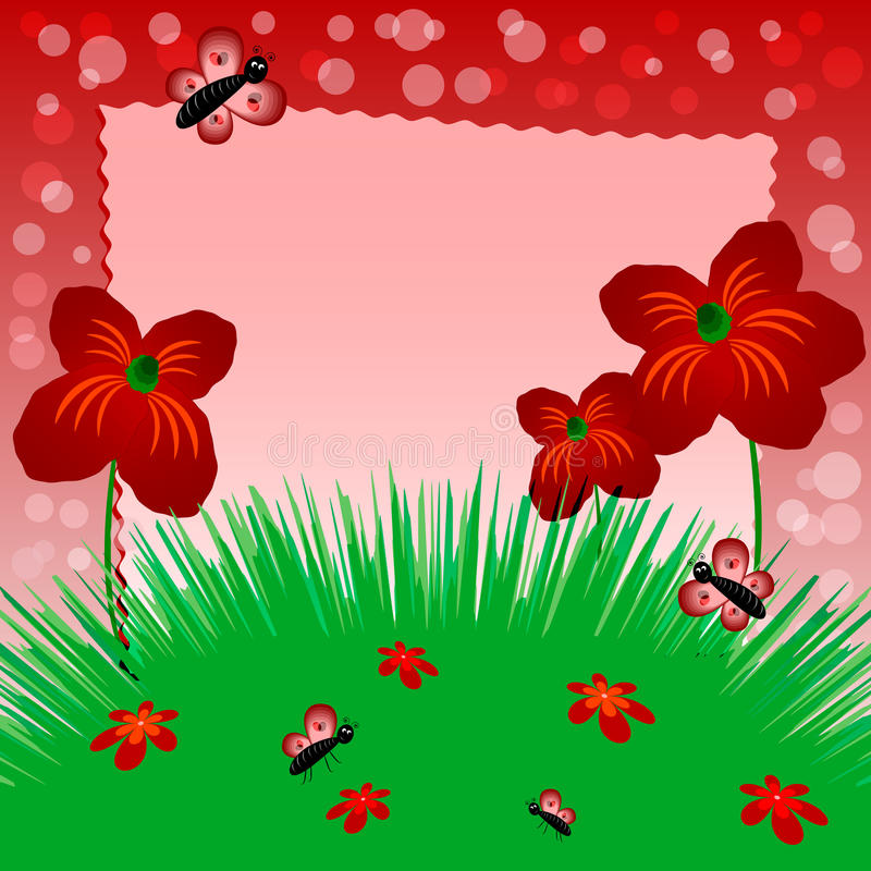 De illustratie van kinderen met etiket voor tekst Weide met papavers Rode kleur vector illustratie
