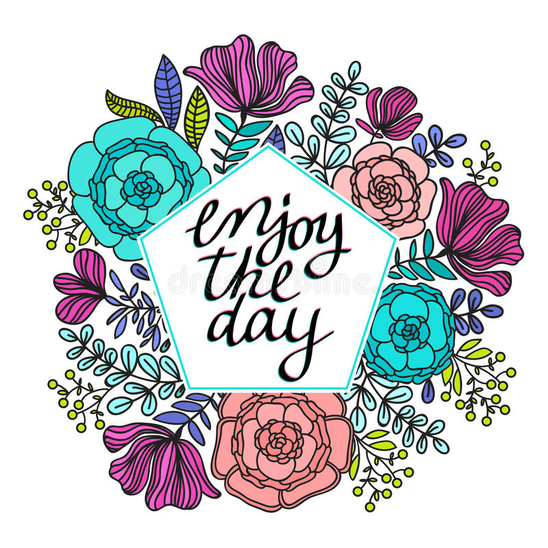 De illustratie van kroon met bladeren en de bessen en genieten van het dagbericht op pastelkleurachtergrond Vakantiekronen, bloem royalty-vrije stock foto's