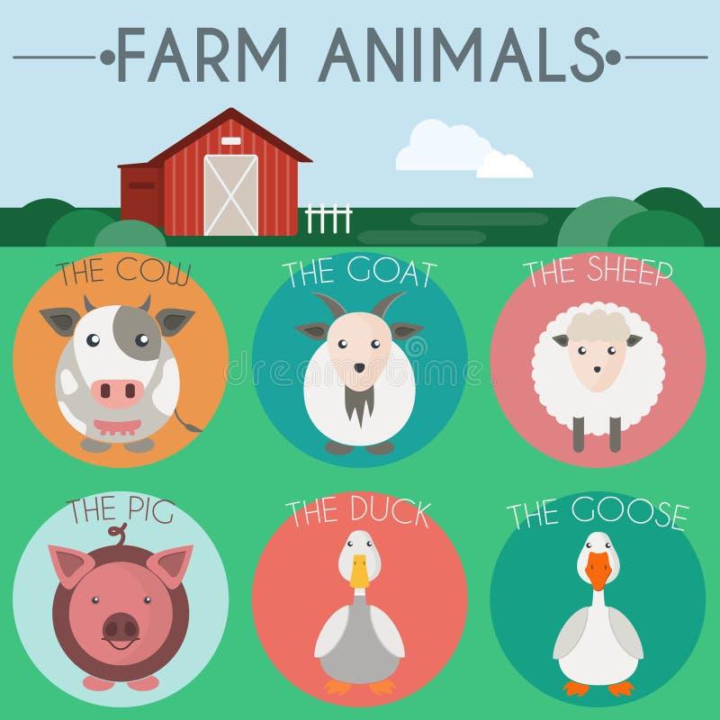 De illustratie van landbouwbedrijfdieren royalty-vrije illustratie