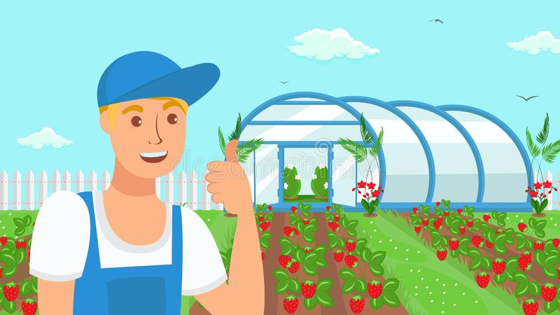 De Illustratie van landbouwersgrowing strawberries vector royalty-vrije illustratie