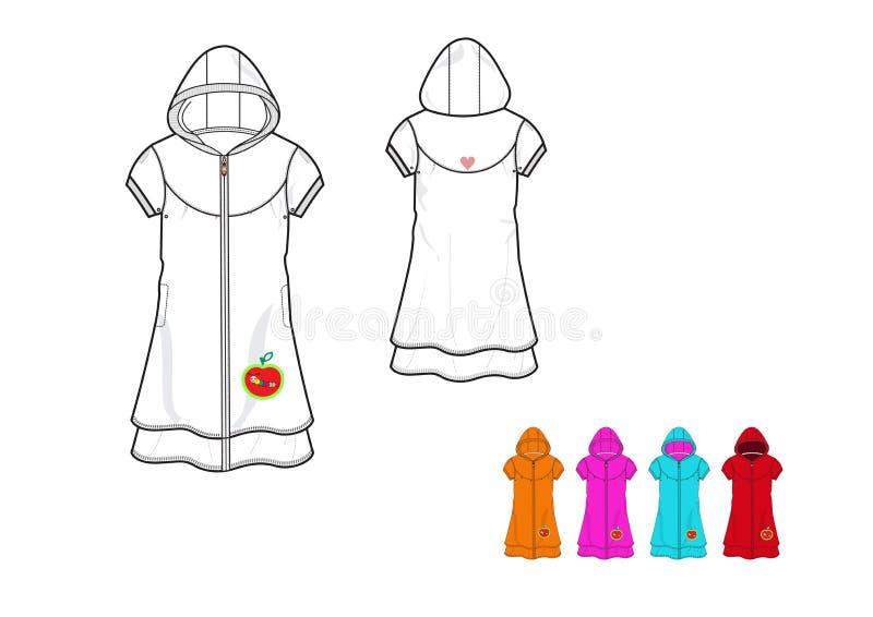 De illustratie van lange meisjesvacht met een kap breit het ontwerpmalplaatje van het stoffenjasje vector illustratie