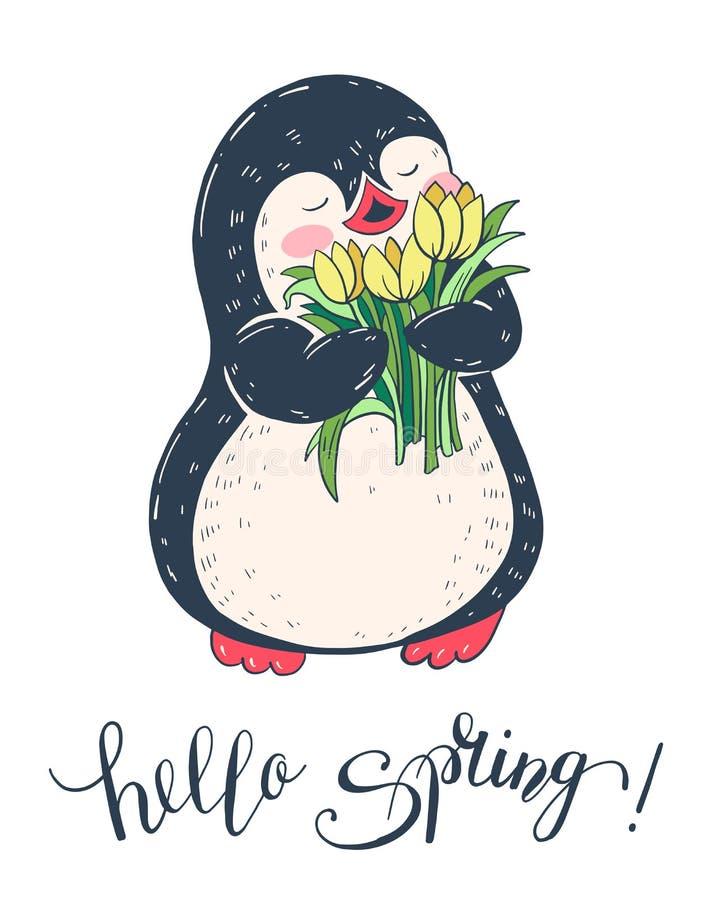 De illustratie van de lente Grappige beeldverhaalpinguïn met bloemen stock illustratie