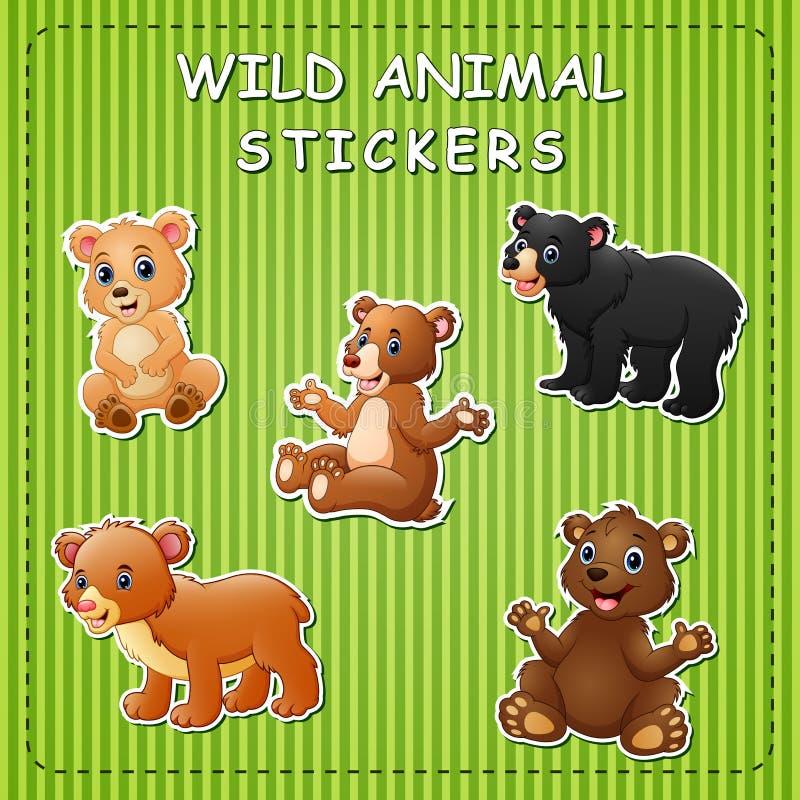 De illustratie van leuk beeldverhaal draagt op stickers stock illustratie