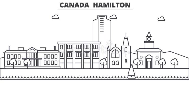 De illustratie van de de lijnhorizon van Canada Hamilton Lineaire vectorcityscape met beroemde oriëntatiepunten, stadsgezichten,  royalty-vrije illustratie