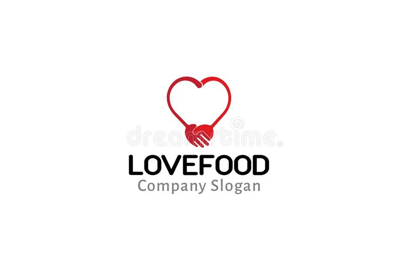 De Illustratie van Logo Symbol Fork Spoon Design van het liefdevoedsel royalty-vrije illustratie