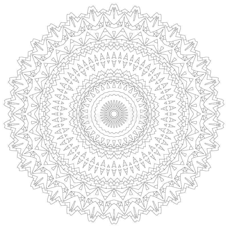 De Illustratie van Mandala Cirkel ingewikkeld patroon Het ontwerpmalplaatje van de kantcirkel Abstracte geometrische monolijnacht stock illustratie