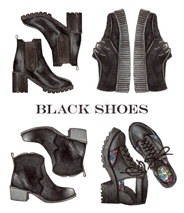 De illustratie van de manier geplaatste waterverf zwarte schoenen royalty-vrije stock foto