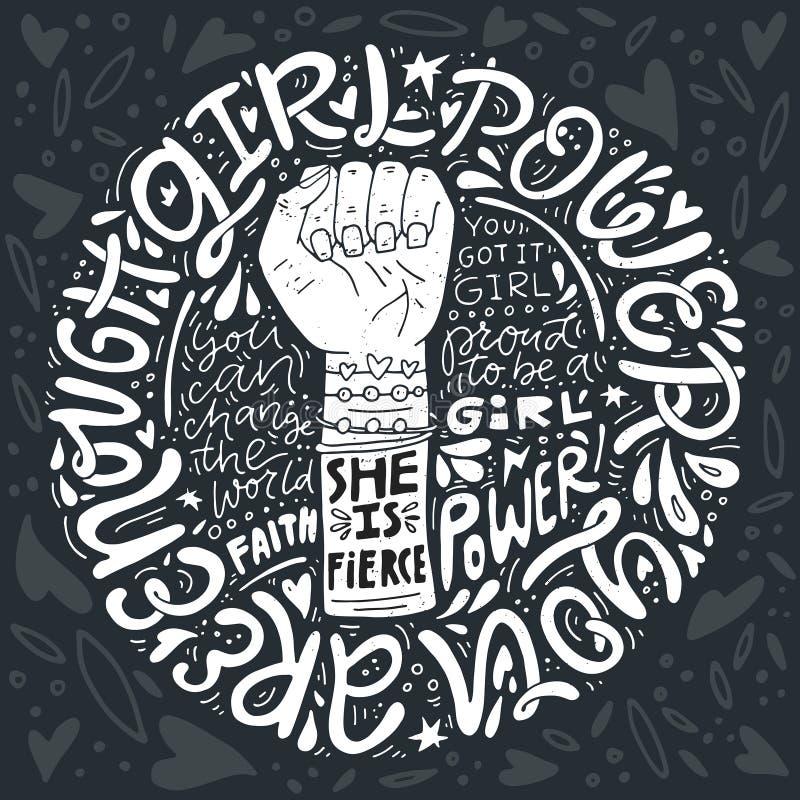 De Illustratie van de meisjesmacht royalty-vrije illustratie