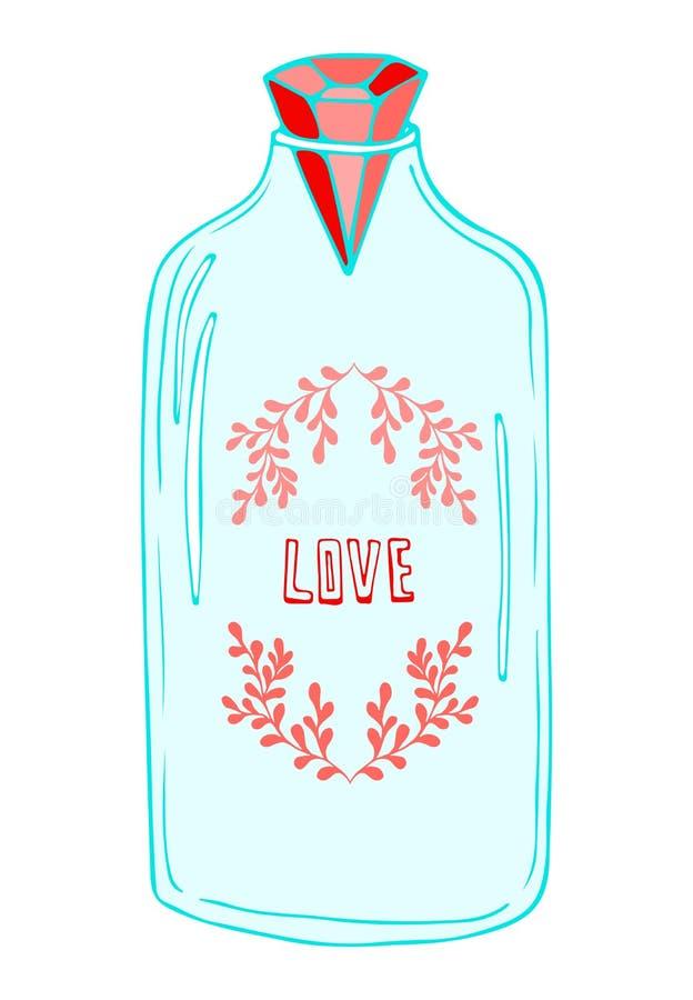 De illustratie van de metselaarkruik Romantische sticker met leuke kruik De kaart van de Dag van valentijnskaarten royalty-vrije illustratie
