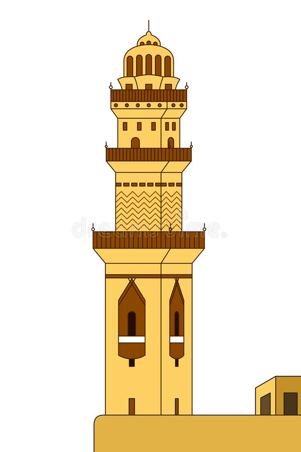 De Illustratie van de minarettoren vector illustratie