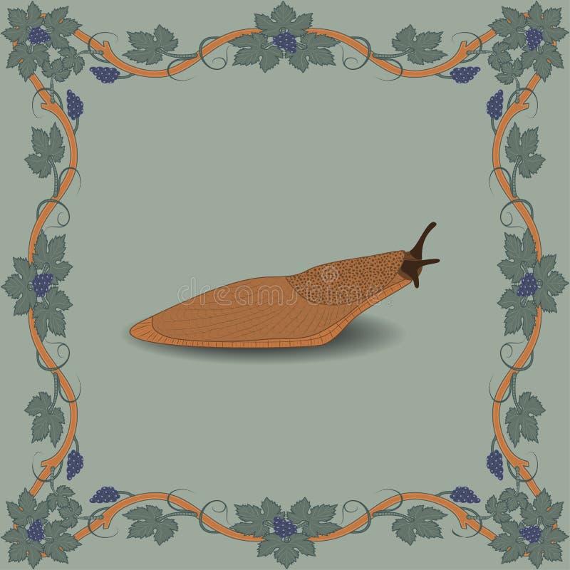 De illustratie van de naaktslakkleur in middeleeuws bloemenkader vector illustratie