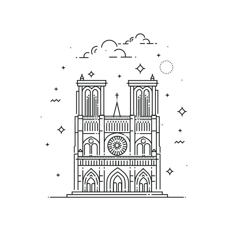De illustratie van Notredame de paris in overzichtsstijl die wordt gemaakt Wereldberoemde oriëntatiepunteninzameling stock illustratie