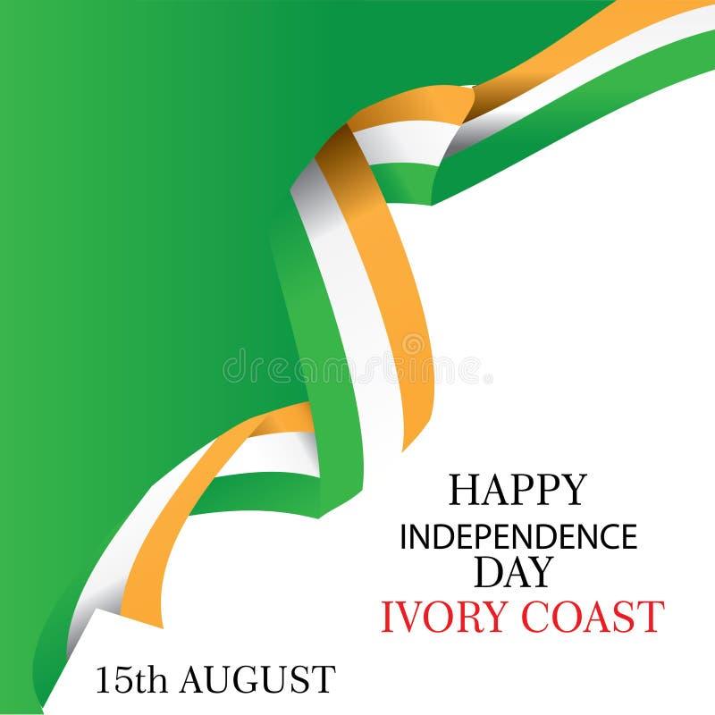 De illustratie van de de onafhankelijkheidsdag van Ivoorkust met vlag en patriottische elementen Vrijheidsconcept met creatieve o stock illustratie