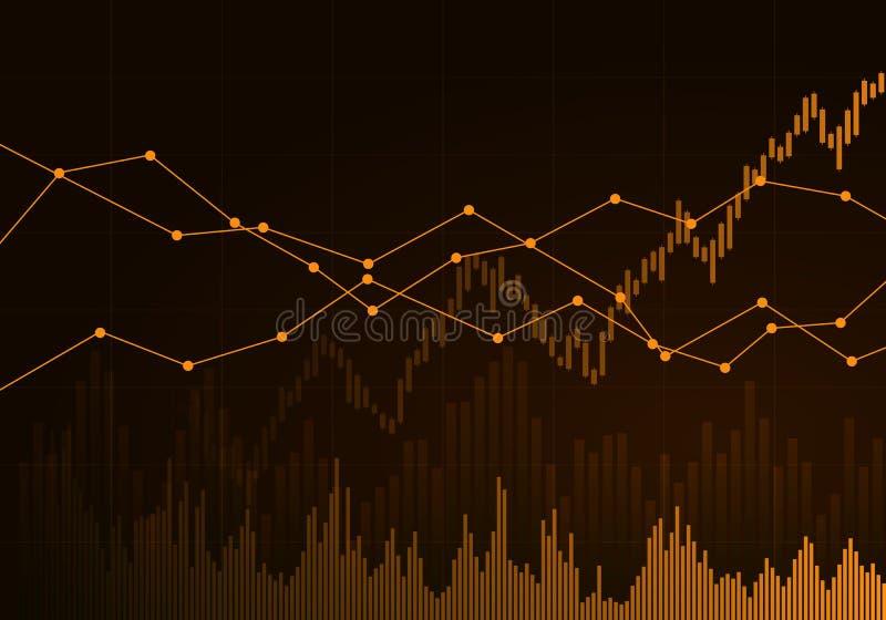 De illustratie van oranje bedrijfsgrafiek van de groei en daling van voorraad, het geld of de goederenprijzen met lijnen en de ac royalty-vrije illustratie