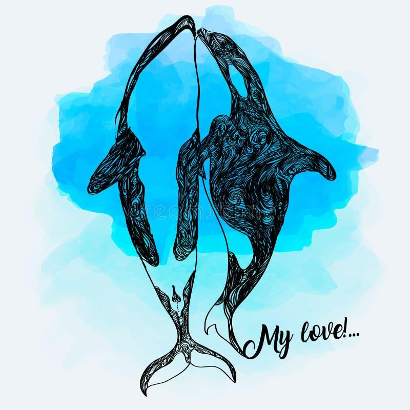 De Illustratie van de orkakrabbel Fantasieschets Hand getrokken vectorillustratie vector illustratie