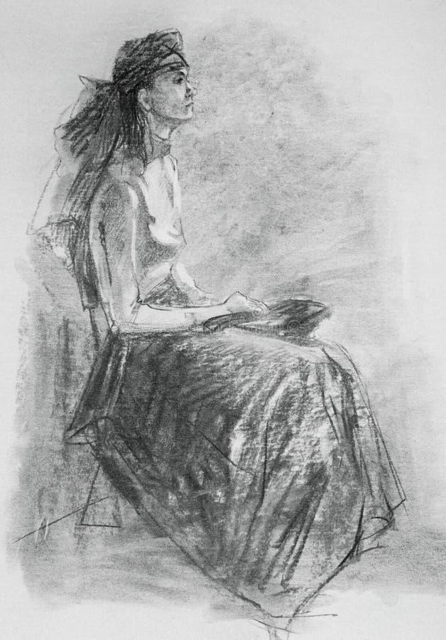 De illustratie van de potloodtekening met vrouw in het elegante kleren stellen stock illustratie
