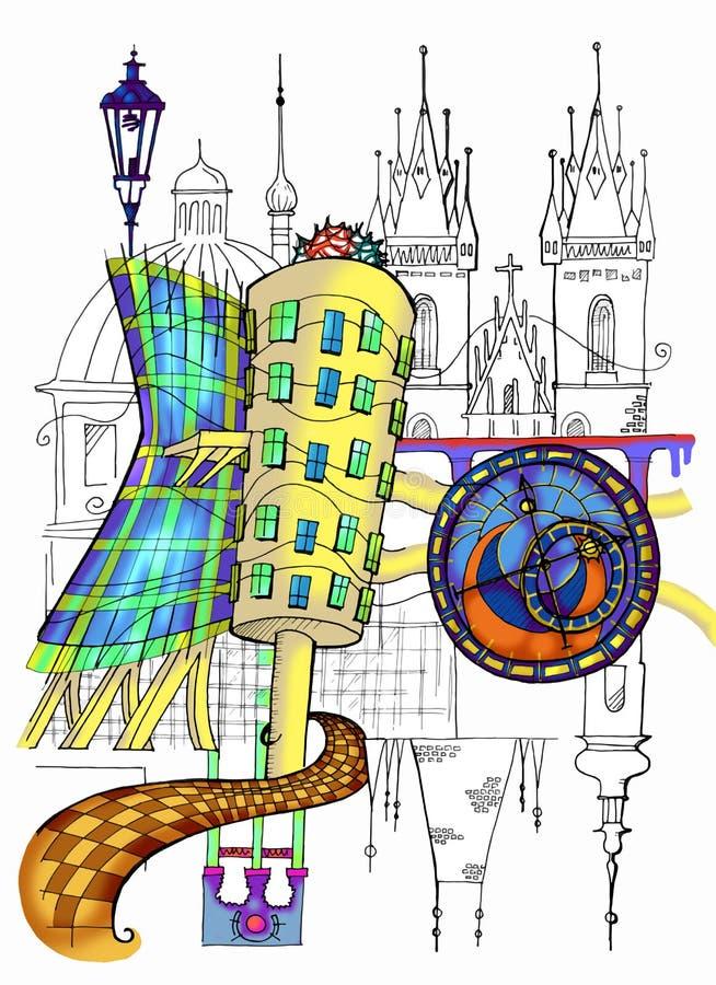 De Illustratie van Praag royalty-vrije illustratie