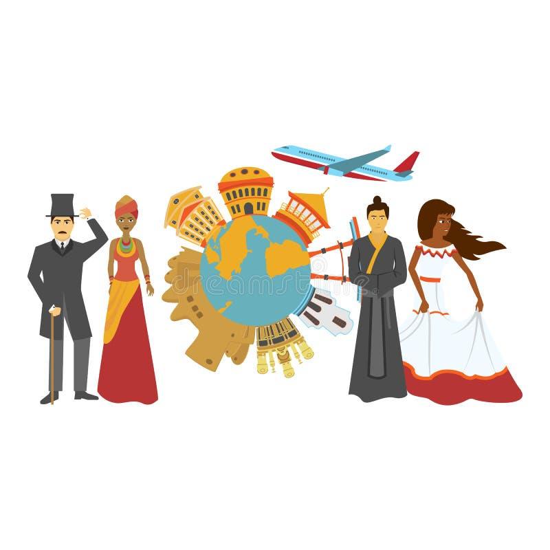 de illustratie van de de prentbriefkaarkleur van de uitnodigingstoerist royalty-vrije illustratie