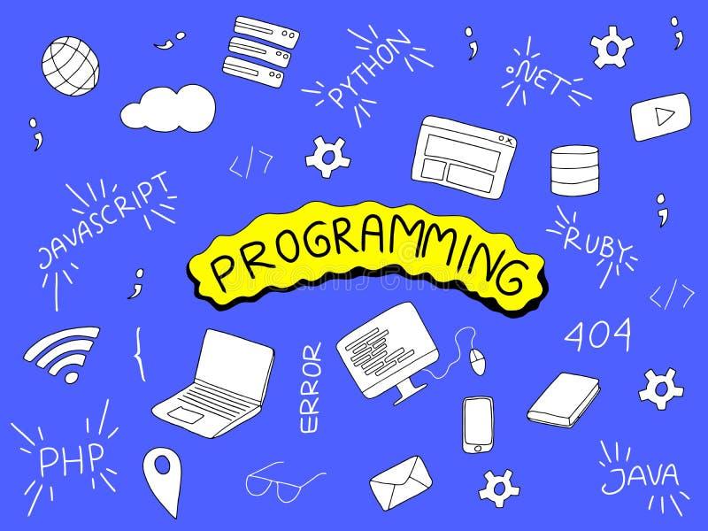 De illustratie van de programmeringskrabbel met programmeurshulpmiddelen en populaire taal vector illustratie