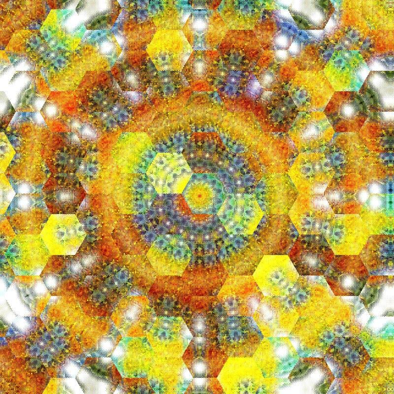 De illustratie van regenboog kleurde achtergrond gebreid weefsel in sinaasappel, groen en blauw royalty-vrije illustratie