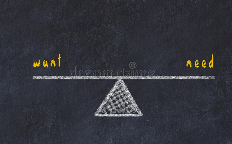 De illustratie van de schoolbordschets Concept evenwicht tussen behoefte en behoefte vector illustratie