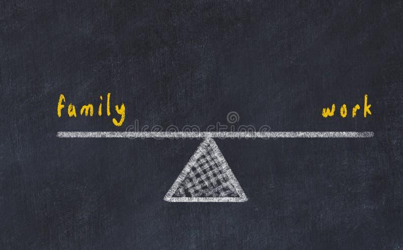 De illustratie van de schoolbordschets Concept evenwicht tussen familie en het werk stock illustratie