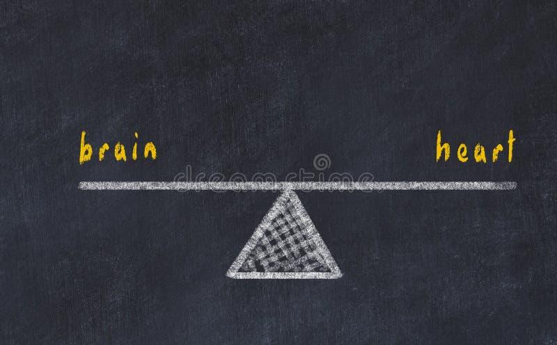 De illustratie van de schoolbordschets Concept evenwicht tussen hersenen en hart vector illustratie