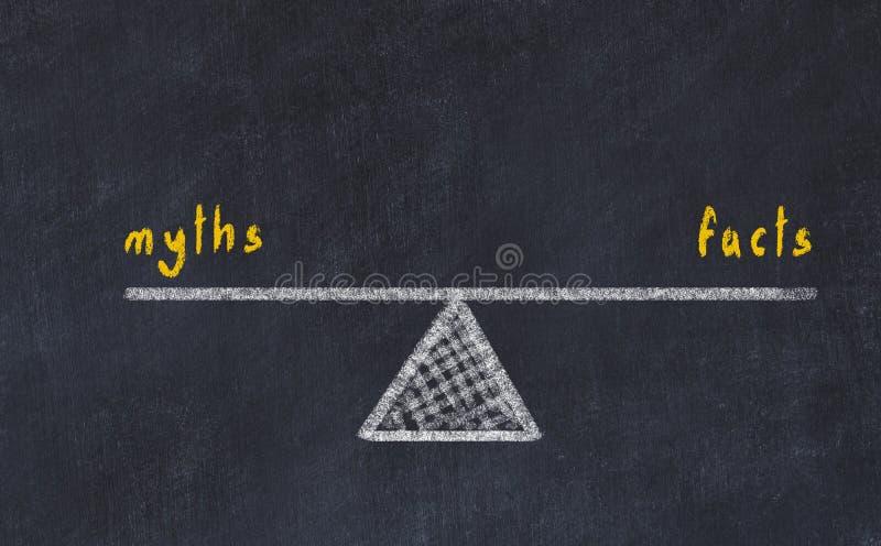 De illustratie van de schoolbordschets Concept evenwicht tussen mythen en feiten stock illustratie