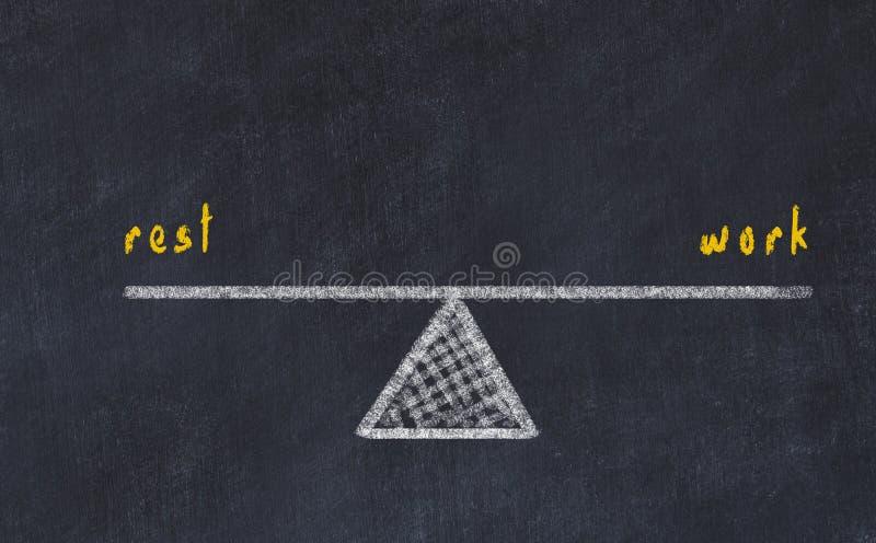 De illustratie van de schoolbordschets Concept evenwicht tussen rust en het werk vector illustratie