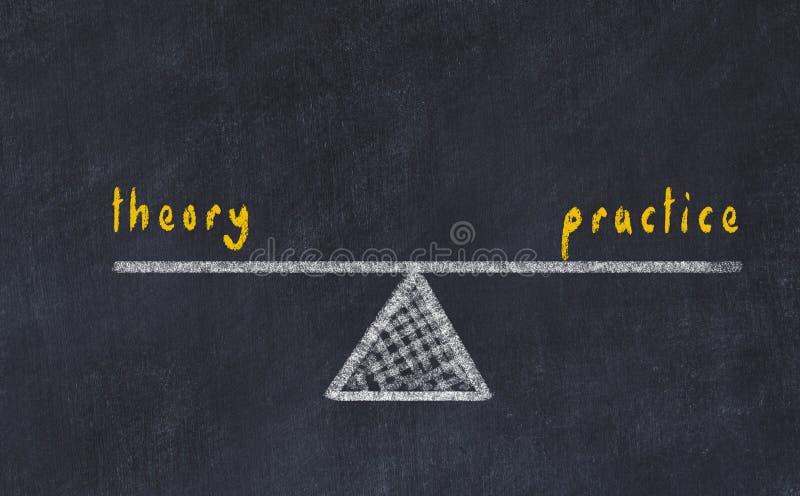 De illustratie van de schoolbordschets Concept evenwicht tussen theorie en praktijk stock illustratie