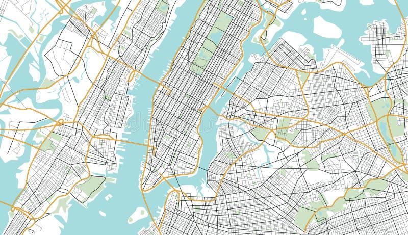 De Illustratie van de de Stadskaart van New York stock illustratie