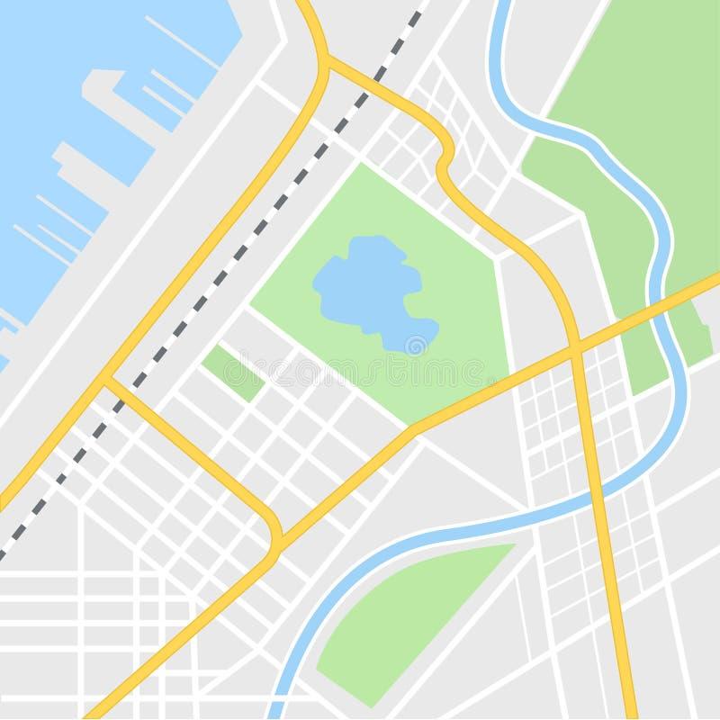 De illustratie van de stadskaart voor navigatie app Hoogste mening De kaart van de stadslay-out met haven en rivier royalty-vrije illustratie