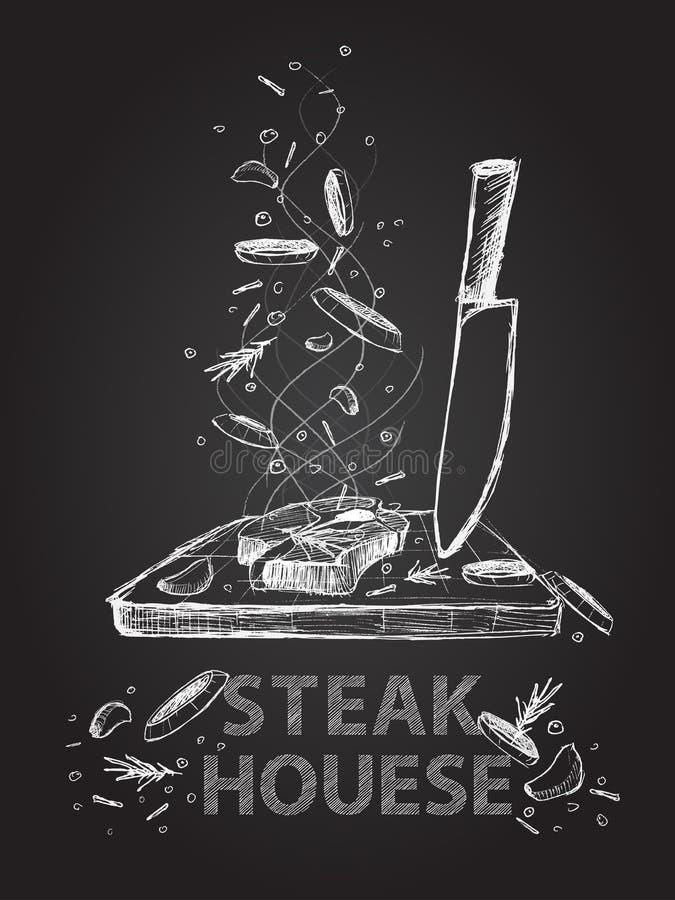 De illustratie van Steakhousecitaten op bord royalty-vrije illustratie