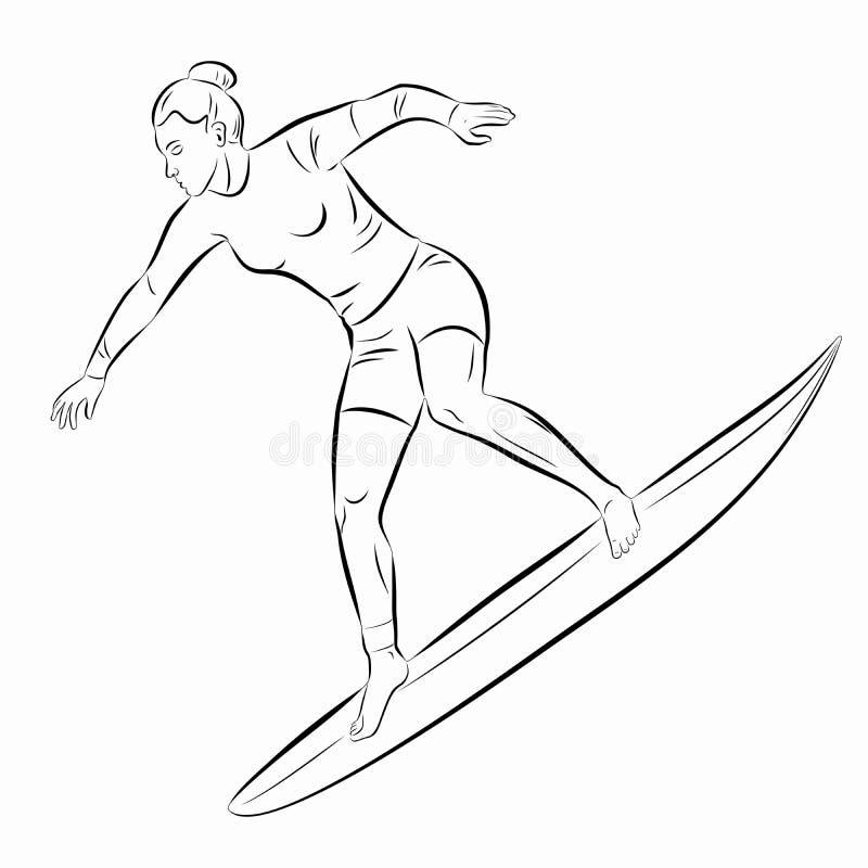 De illustratie van surfervrouw, vector trekt stock afbeelding