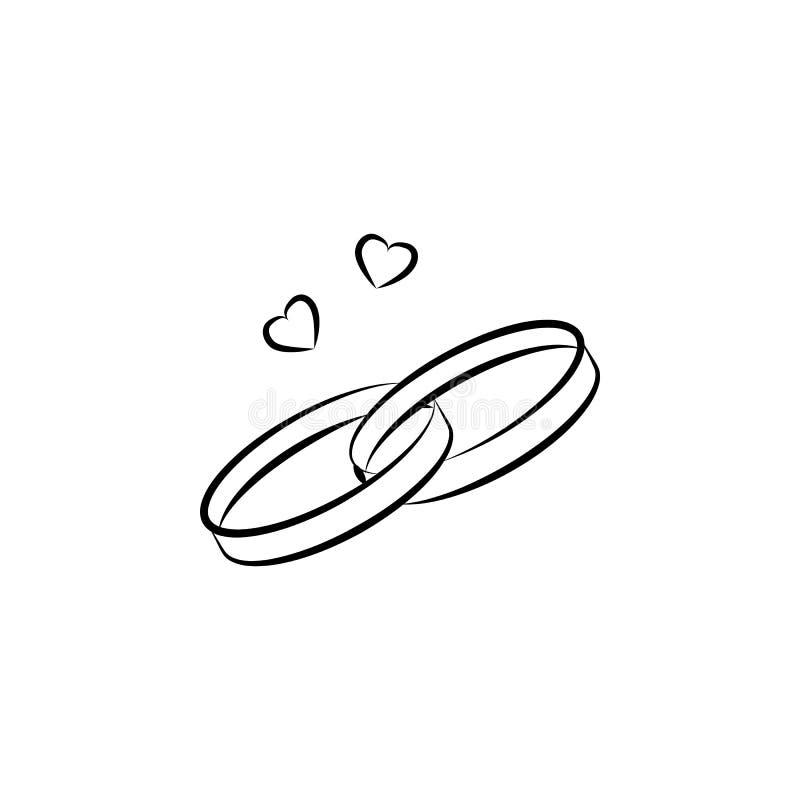 de illustratie van de trouwringenschets Element van huwelijkspictogram voor mobiel concept en Web apps Het de trouwringenpictogra stock illustratie