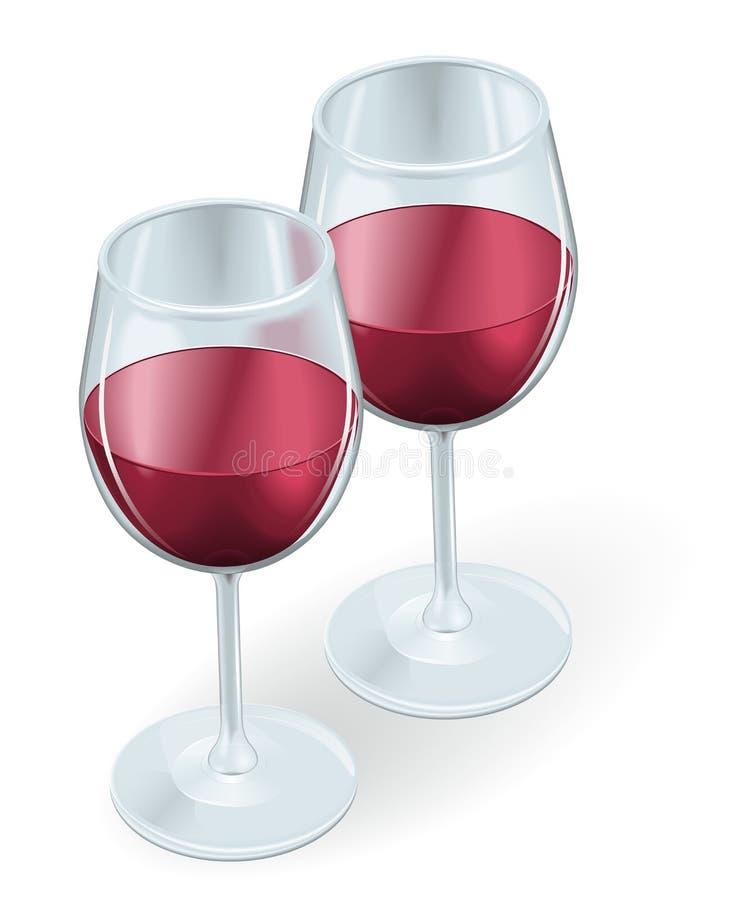 De illustratie van twee wijnglazen vector illustratie