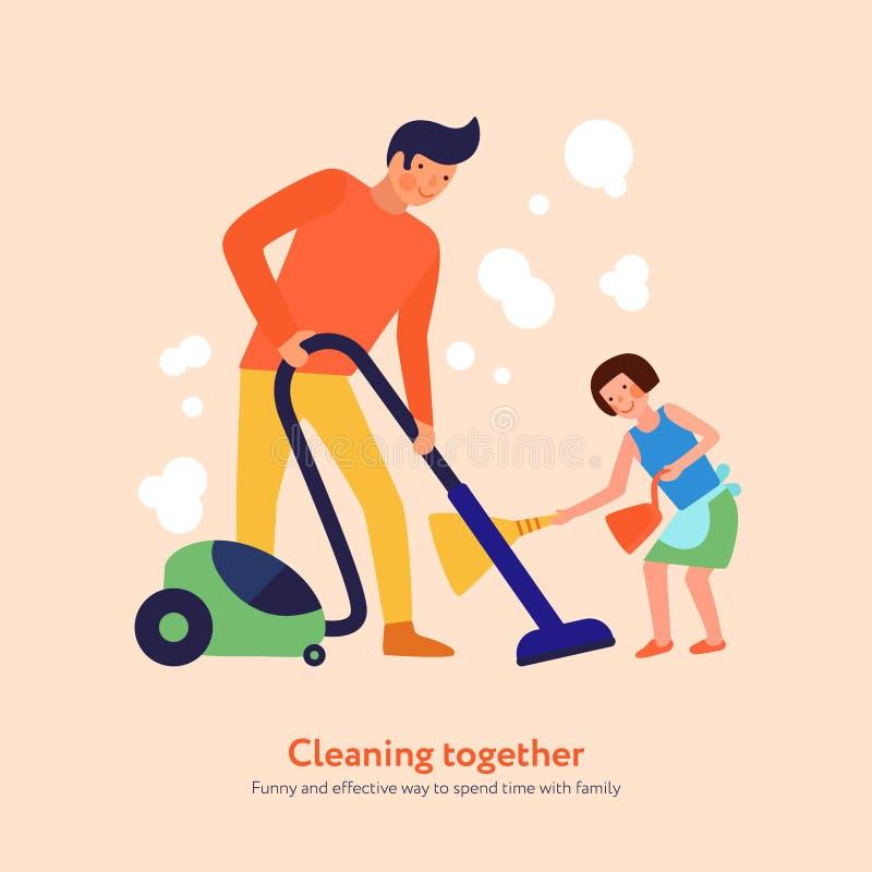 De Illustratie van vaderdaughter cleaning together royalty-vrije illustratie