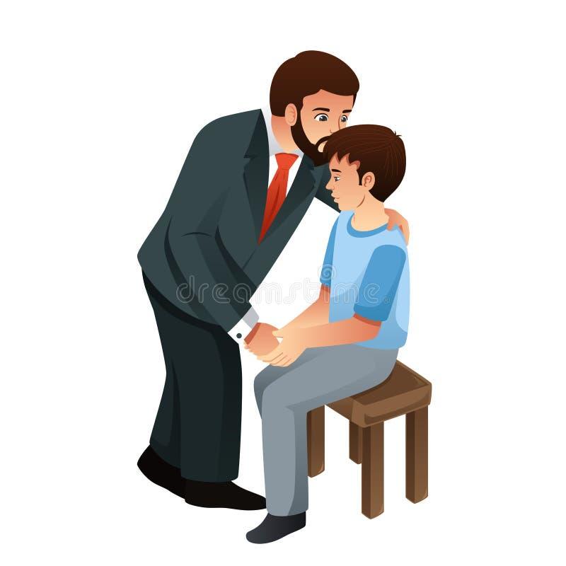 De Illustratie van vaderkissing his son royalty-vrije illustratie