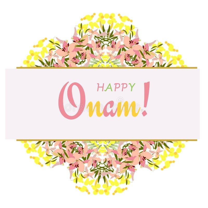 De illustratie van vakantiegroeten van Onam-achtergrond vector illustratie