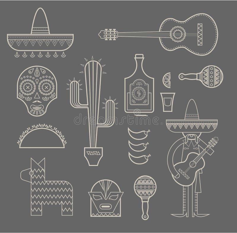 De pictogrammen van Mexico stock illustratie