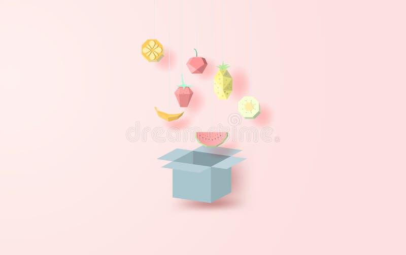 De illustratie van Veel kleurrijk fruit hangt op de doos opent het deksel vector illustratie