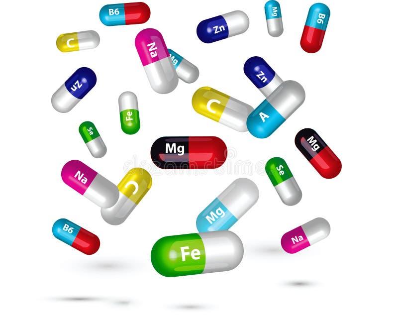 De illustratie van vitaminepillen vector illustratie
