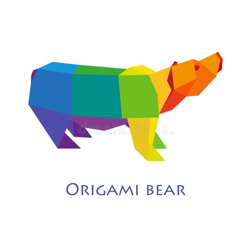 De illustratie van vlak ontwerp met origami draagt geïsoleerd op grijze achtergrond vector illustratie