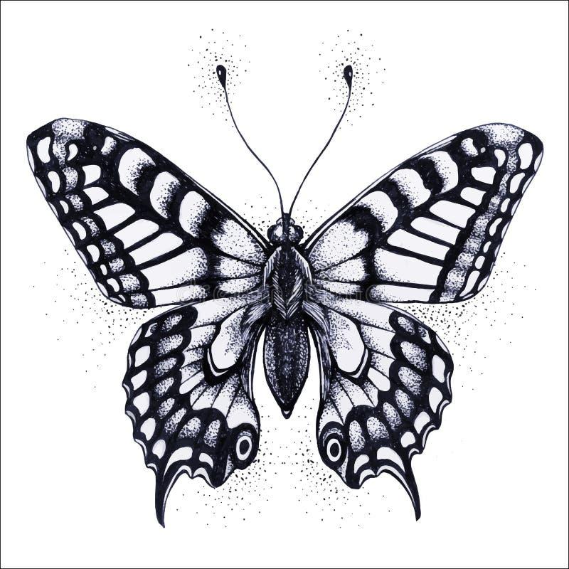 De illustratie van de vlinder Vectortatoegeringsvlinder Symbool van ziel, onsterfelijkheid, wedergeboorte en verrijzenis royalty-vrije illustratie