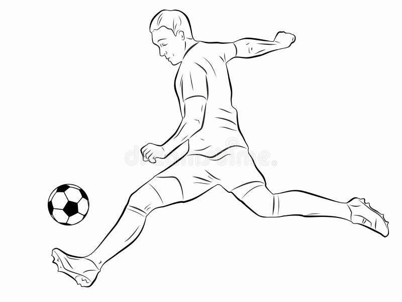 De illustratie van voetballer, vector trekt royalty-vrije stock afbeelding