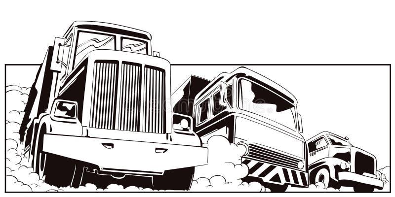 De illustratie van de voorraad Drie zware vrachtwagens royalty-vrije illustratie