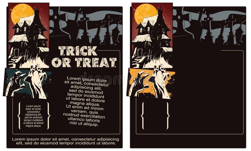 De illustratie van de voorraad Halloween-malplaatjevlieger vector illustratie