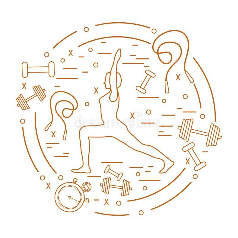 De illustratie van vrouwenyoga stelt en verschillende sportuitrusting stock illustratie